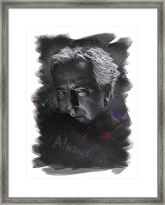 Framed Print featuring the drawing Alan Rickman by Julia Art
