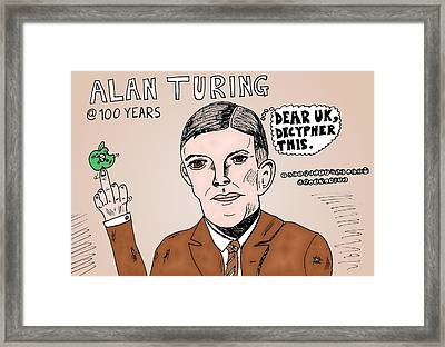 Alan Turing Caricature Framed Print by Yasha Harari
