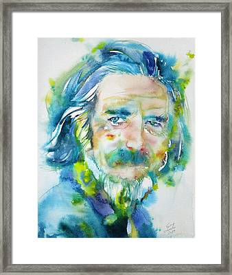 Framed Print featuring the painting Alan Watts - Watercolor Portrait.4 by Fabrizio Cassetta