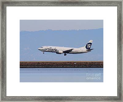 Alaska Airlines Jet Airplane At San Francisco International Airport Sfo . 7d12232 Framed Print