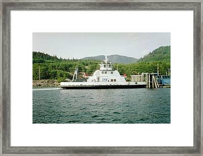 Alaska Boat At Dock Framed Print by Judyann Matthews