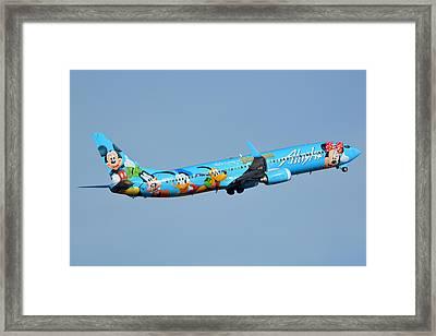 Alaska Boeing 737-990 N318as Disneyland Phoenix Sky Harbor January 19 2016 Framed Print by Brian Lockett