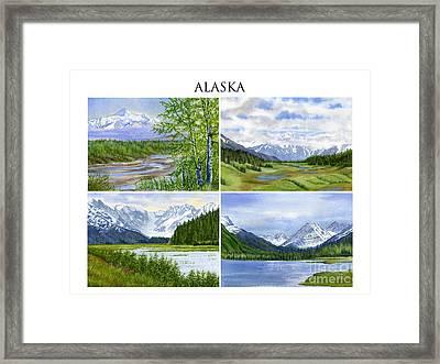 Alaska Landscape Poster Collage 3 With Heading Framed Print by Sharon Freeman