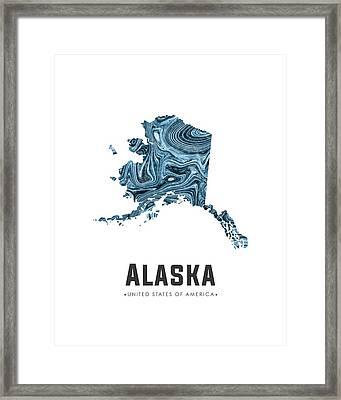 Alaska Map Art Abstract In Blue Framed Print