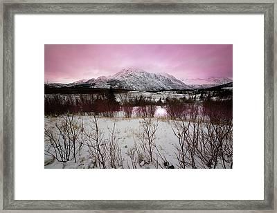 Alaska Range Pink Sky Framed Print