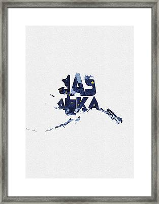 Alaska Typographic Map Flag Framed Print
