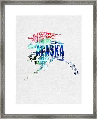 Alaska Watercolor Word Cloud  Framed Print by Naxart Studio