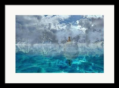 Moon Fairies Blue Snow Woman Framed Prints