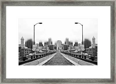 Alaskan Way Viaduct Downtown Seattle Reflection Framed Print by Pelo Blanco Photo