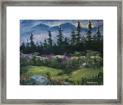 Framed Print featuring the painting Alaskan Woods by Yulia Kazansky
