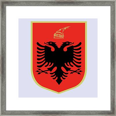 Framed Print featuring the drawing Albania Coat Of Arms by Movie Poster Prints
