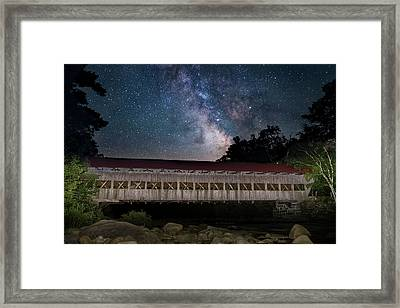 Albany Covered Bridge Under The Milky Way Framed Print