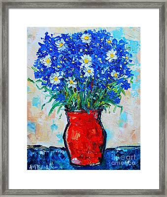 Albastrele Blue Flowers And Daisies Framed Print by Ana Maria Edulescu