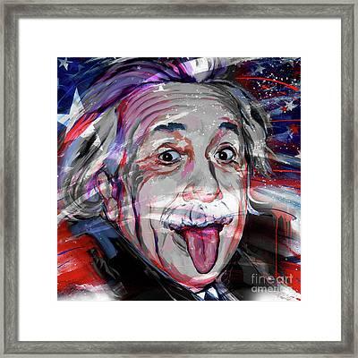 Albert Einstein Flag Usa Framed Print by Gull G
