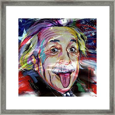 Albert Einstein Usa Flag Framed Print by Gull G