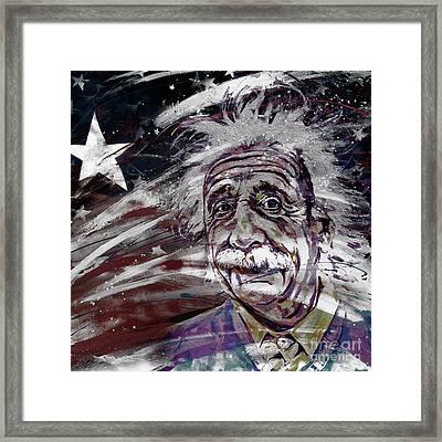 Albert Einstein Usa Framed Print by Gull G