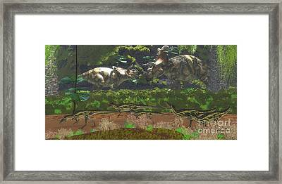 Albertaceratops Disagreement Framed Print by Corey Ford