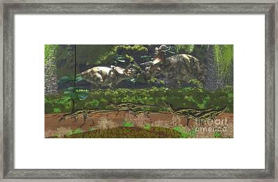 Albertaceratops Disagreement Framed Print