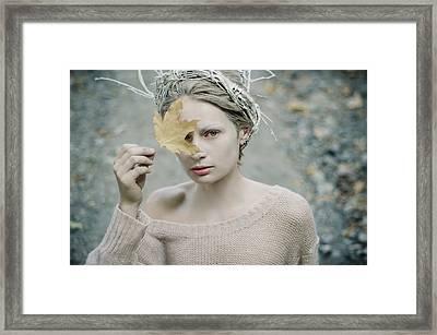Albino In Forest. Prickle Tenderness Framed Print