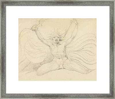 Albion Compelling The Four Zoas To Their Proper Tasks Framed Print by William Blake