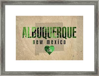 Albuquerque New Mexico City Love Established 1706 Series 005 Framed Print
