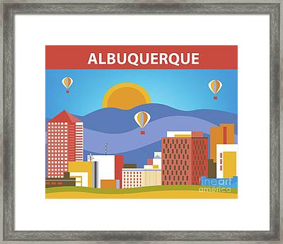 Albuquerque New Mexico Horizontal Skyline Framed Print