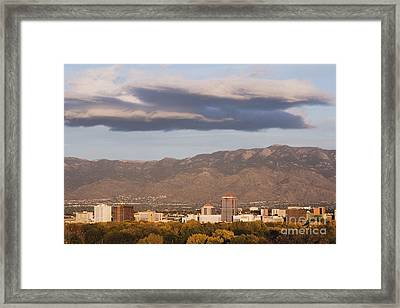 Albuquerque Skyline With The Sandia Mountains In The Background Framed Print by Jeremy Woodhouse