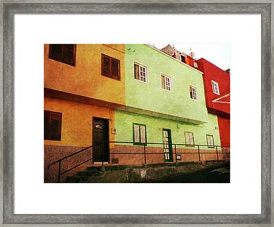 Framed Print featuring the photograph Alcala Orange Green Red Houses by Anne Kotan