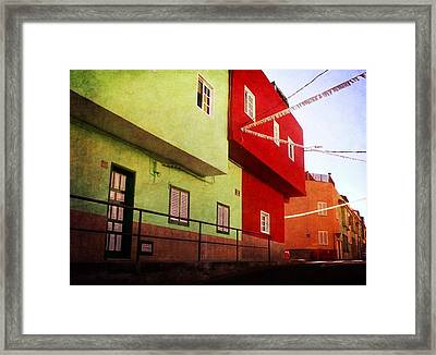 Framed Print featuring the photograph Alcala Red And Green Street by Anne Kotan
