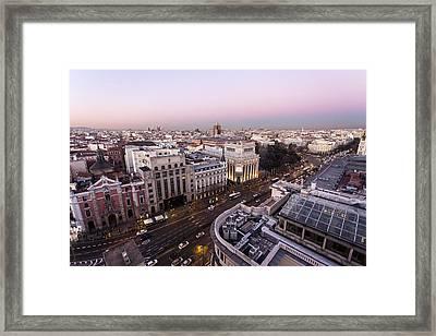 Alcala Street Of Madrid, Spain Framed Print