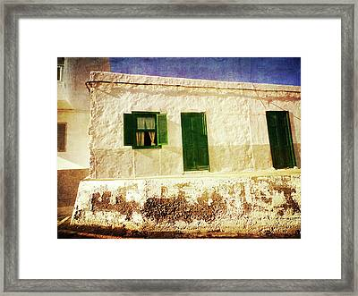 Framed Print featuring the photograph Alcala White And Green House by Anne Kotan