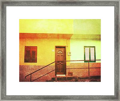 Framed Print featuring the photograph Alcala Yellow Green Houses by Anne Kotan