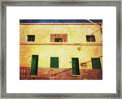 Framed Print featuring the photograph Alcala Yellow House With Green Doors by Anne Kotan