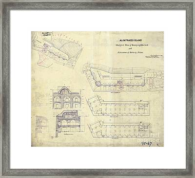 Alcatraz  Bomb Proof Barracks Drawing 1865   Framed Print by Jon Neidert