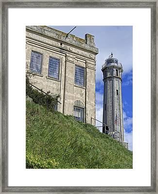 Alcatraz Cell House And Lighthouse Framed Print
