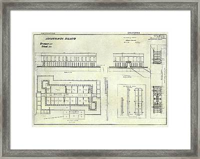 Alcatraz Defensive Barracks Drawing 1859 Framed Print by Jon Neidert