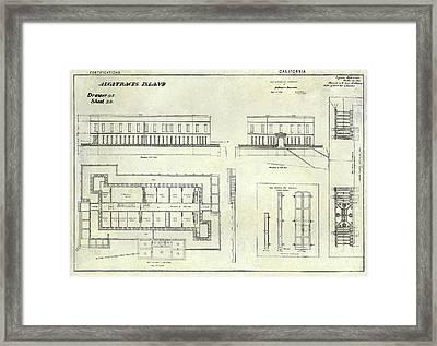 Alcatraz Defensive Barracks Drawing 1859 Framed Print by Jon Neidert