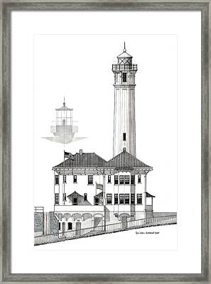 Alcatraz Island Lighthouses - Black And White Framed Print