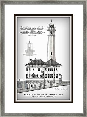 Alcatraz Island Lighthouses - Vignette Framed Print by Gene Nelson
