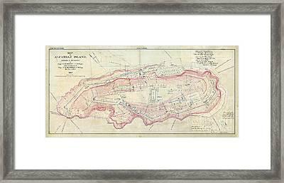 Alcatraz Island Map Circa 1867 Framed Print by Jon Neidert