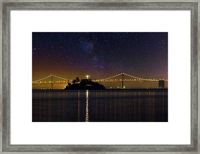 Alcatraz Island Under The Starry Night Sky Framed Print by David Gn