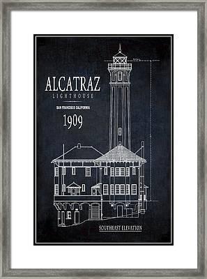 Alcatraz Lighthouse 1909 Blueprint Minimal Framed Print by Daniel Hagerman