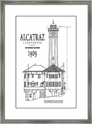 Alcatraz Lighthouse Architectural Drawing Minimal Framed Print by Daniel Hagerman