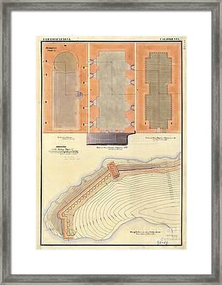 Alcatraz North Battery Drawing1856   Framed Print by Jon Neidert