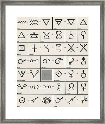 Alchemy Symbols Framed Print by Science Source