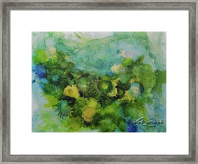 Framed Print featuring the painting Alcohol Ink 1 by Kate Word