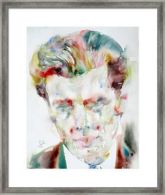 Aldous Huxley - Watercolor Portrait.3 Framed Print by Fabrizio Cassetta
