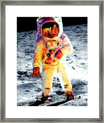 Aldrin Walks On The Surface Of The Moon During Apollo 11 / Art Prints For Sale Framed Print