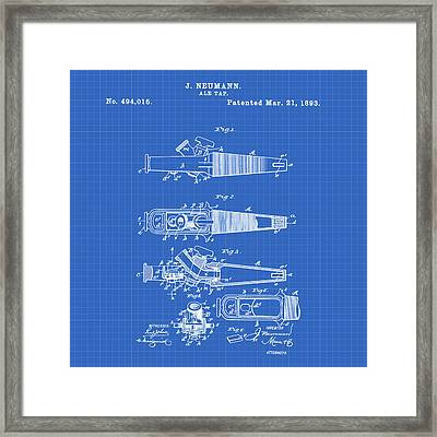 Ale Tap Patent 1893 In Blueprint Framed Print