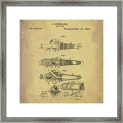 Ale Tap Patent 1893 In Sepia Framed Print
